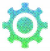 Halftone Dot Cogwheel Icon. Icon In Green And Blue Color Tints On A White Background. Vector Composi poster