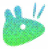 Halftone Round Spot Mouse Head Icon. Pictogram In Green And Blue Color Tinges On A White Background. poster