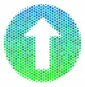 Halftone Round Spot Rounded Arrow Icon. Icon In Green And Blue Color Hues On A White Background. Vec poster