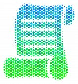 Halftone Dot Script Roll Pictogram. Pictogram In Green And Blue Color Tints On A White Background. V poster