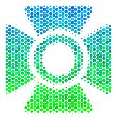 Halftone Dot Searchlight Pictogram. Pictogram In Green And Blue Color Tints On A White Background. V poster