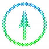 Halftone Circle Sharp Rounded Arrow Pictogram. Pictogram In Green And Blue Color Tinges On A White B poster