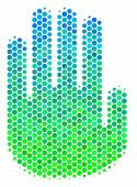 Halftone Round Spot Stop Hand Pictogram. Pictogram In Green And Blue Shades On A White Background. V poster
