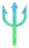 Halftone Round Spot Trident Fork Pictogram. Pictogram In Green And Blue Color Tinges On A White Back poster