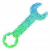 Halftone Round Spot Wrench Pictogram. Icon In Green And Blue Color Tinges On A White Background. Vec poster