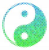 Halftone Circle Yin Yang Pictogram. Pictogram In Green And Blue Color Hues On A White Background. Ve poster