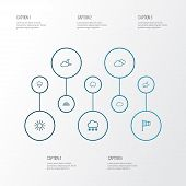 Climate Icons Line Style Set With Arc, Moonshine, Rainfall And Other Windsock Elements. Isolated  Il poster