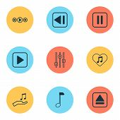 Audio Icons Set With Pause Music, Equalizer, Previous Music And Other Mute Song Elements. Isolated   poster