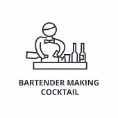 Bartender Making Cocktail Thin Line Icon, Sign, Symbol, Illustation, Linear Concept Vector poster