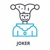 Joker Thin Line Icon, Sign, Symbol, Illustation, Linear Concept Vector poster