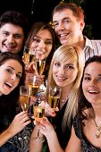 image of christmas party  - Photo of joyful friends relaxing together at a evening - JPG