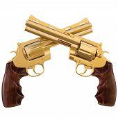 image of crossed pistols  - two crossed golden revolver - JPG