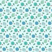 Tender Blue Naive Hand Drawn Floral Seamless Pattern. Lovely Doodle Texture With Flowers, Leaves And poster