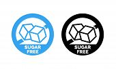 Sugar Free Label. Vector Sugar Cubes In Circle Icon For No Sugar Added Product Package Design poster