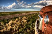 picture of truck farm  - Vintage Farm Trucks Saskatchewan Canada weathered and old - JPG