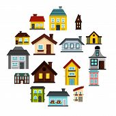Flat House Icons Set. Universal House Icons To Use For Web And Mobile Ui, Set Of Basic House Element poster