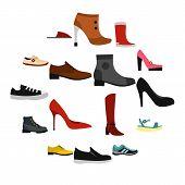Flat Shoe Icons Set. Universal Shoe Icons To Use For Web And Mobile Ui, Set Of Basic Shoe Elements I poster