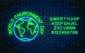Glowing Neon Sign Of World Environment Day With Globe Symbol And Alphabet On Dark Brick Wall Backgro poster