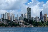 The Cityscape Of Salvador De Bahia, Brazil As Seen From The Ocean. A Big Contrast Between The Rich R poster