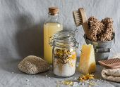 Bath Accessories - Homemade Sea Salt With Calendula, Natural Shampoo, Brush, Washcloth, Pumice, Home poster