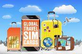 Smartphone And Global Travel Sim Card  Luggage Bag poster