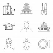Little Wife Icons Set. Outline Set Of 9 Little Wife Vector Icons For Web Isolated On White Backgroun poster