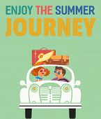 Travelling By Car Concept. Young Happy Travellers Take A Trip By Retro Automobile. Family Couple Enj poster