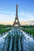 Water Cannons Of Gardens Of Trocadero And Eiffel Tower With The Eu Stars, Paris, France poster