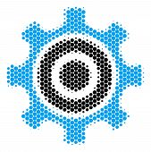 Halftone Dot Cogwheel Icon. Pictogram On A White Background. Vector Pattern Of Cogwheel Icon Designe poster