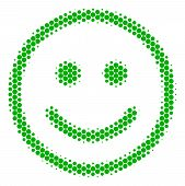 Halftone Round Spot Glad Smiley Icon. Pictogram On A White Background. Vector Concept Of Glad Smiley poster