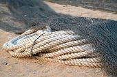 marine rope. marine rope for tying up boats to docks. hemp rope. poster