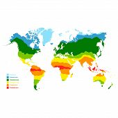 Vector Map With World Climate Zones For Your Design poster