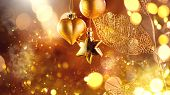 Christmas and New Year golden Decoration. Abstract Blurred Bokeh Holiday Background with beautiful b poster