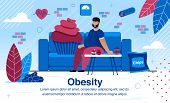 Obesity And Unhealthy Lifestyle, Vascular Diseases And Diabetes Prevention Trendy Flat Vector Banner poster