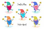 Santa`s Elves With Sparklers Vector Hand Drawn Clipart. Colorful Elves. Christmas, New Year Clipart, poster