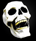 white skull with golden teeth on black