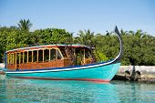 A Dhoni Boat (also Known As A Doni Boat) Is A Traditional Sail Boat Used In The Maldives. Boat Is Do poster
