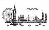 Vector Illustration Of Main Landmarks Of London. City Skyline Vector Illustration In Black And White poster