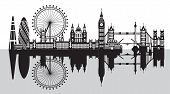 Vector Illustration Of Main Landmarks Of London With Reflection. City Skyline Vector Illustration Is poster