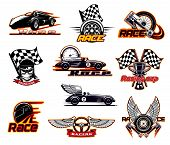 Car Races, Fast Auto Motor Sport Icons And Street Racing Club Emblems. Vector Sportcar Bolid With Bu poster