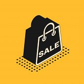 Isometric Shoping Bag With An Inscription Sale Icon Isolated On Yellow Background. Handbag Sign. Wom poster