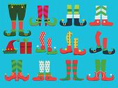Xmas Shoes. Fairytale Elf Boots And Leggings Santa Boy Legs And Shoe Vector Christmas Collection. Il poster