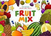 Tropical Fruits Mix, Juicy Multifruit Banana, Pineapple, Mango And Watermelon. Vector Natural Organi poster