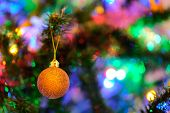 Orange Christmas Ball Ornament On A Christmas Tree With Intense Blurry Background Or Bokeh poster