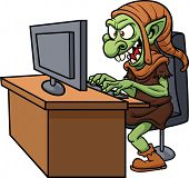 foto of troll  - Internet troll using a computer - JPG
