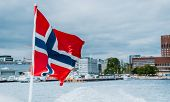 Norway Flag On The Ferry, View Of Oslo City Hall, Scandinavia poster