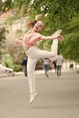 I Am Dancing Roll Up The Floor. Dancing Girl. Adorable Dancer Feeling Free On City Street. Small Chi poster