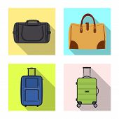 Isolated Object Of Suitcase And Baggage Icon. Collection Of Suitcase And Journey Stock Vector Illust poster