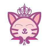 Adorable Beauty Kitty King Doll Logo And Illustration poster