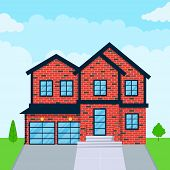 Modern House Exterior Flat Style Design Vector Illustration With Roof, Windows And Shadows. Classic  poster